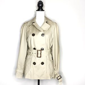 Zara Woman Belted Short Trench Coat Button Detail
